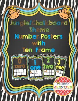 Jungle/Chalkboard Theme Number Posters with Ten Frame