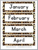 Jungle Theme with Cheetah Design Days & Months Signs with