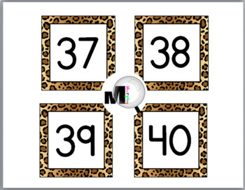 Jungle Theme Classroom Decor with Cheetah Design Number Labels 1 - 40