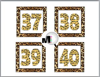 Jungle Theme Classroom Decor Cheetah Design Number Labels 1 – 40 - Jungle Font