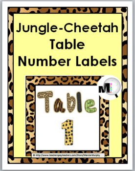 Jungle Theme with Cheetah Design Table Numbers