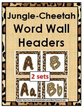Jungle Theme Classroom Decor with Cheetah Design Word Wall Headers