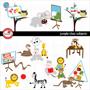 Jungle Class Subjects Digital Class Rules Clipart by Poppydreamz