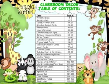Jungle Safari Theme Classroom Decor Bundle (with Editable Slides!)