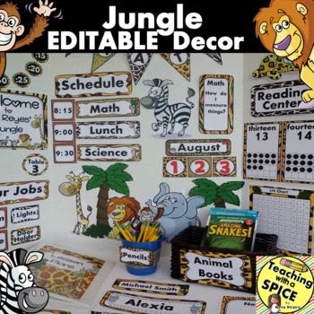 Jungle Zoo Classroom Decor EDITABLE 30% OFF