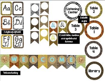 Jungle Classroom Decor Bundle (Editable)