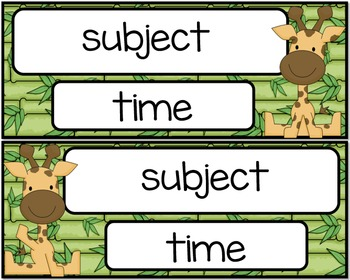 Jungle Themed Classroom Schedule Time Cards - Edible