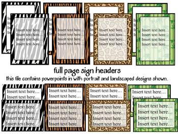 Bulletin Board Headers: Jungle (editable)