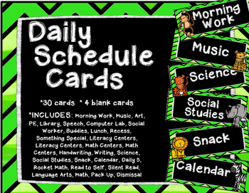 Jungle Daily Schedule Cards