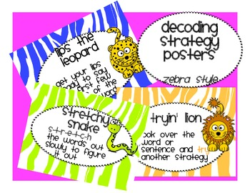 Jungle Decoding and Reading Strategy Focus cards in 3 size