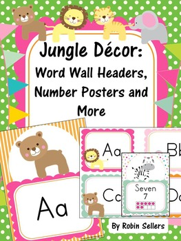 Jungle Decor: Word Wall, Number Sense Posters, Word Labels