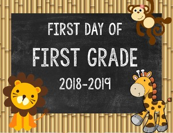 Jungle First Day of School Signs
