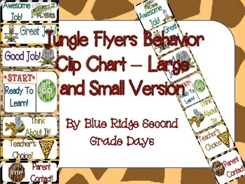 Jungle Flyers Behavior Clip Chart - 2 Different Versions (Large and Small)