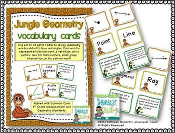 Jungle Geometry Vocabulary Cards: Lines and Angles