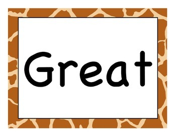 "Jungle Giraffe theme ""Great Work Spotted"""