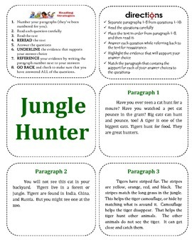 Jungle Hunter-Text Evidence Collage (MacGrawHill Wonders 2nd Grade Series)