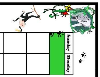 Jungle Calendar Set! Jungle Bulletin Board! Jungle Theme! Rain Forest Calendar!