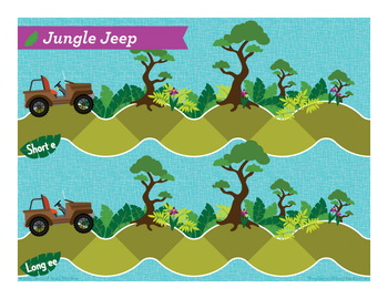 Jungle Jeep short e, long ee Phonics Game
