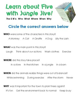 Jungle Jive Classic Classroom Lesson Plans: 1st GRADE EDITION