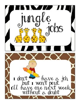 Jungle Jobs Safari Themed for the Classroom, Bulletin Board Pack, over 30 jobs!