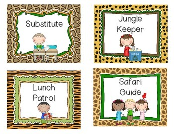 Jungle Jobs with Pictures for Pocket Chart