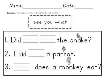 Jungle Jungle What Do You See? Reading Activity Pack