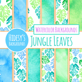 Jungle Leaves / Tropical Leaves Watercolor Digital Papers / Backgrounds in Green