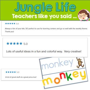 Jungle Activites Bundle for Preschool and PreK - ELA Literacy Math Centers