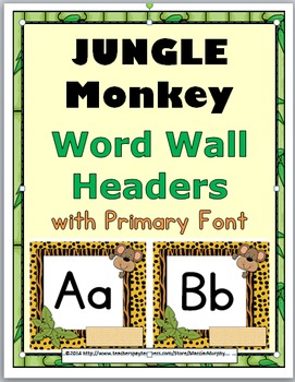 Jungle Theme Monkey Word Wall Headers with Primary Font