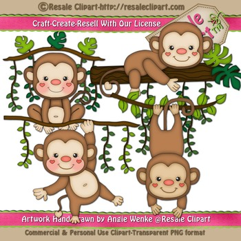 Jungle Monkeys ClipArt - Commercial Use