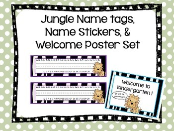 Jungle Name Tags, Name Stickers, and Welcome Poster Kit