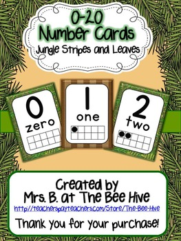 Number Cards 0-20 Jungle Leaves Brown Stripes (Monkey)