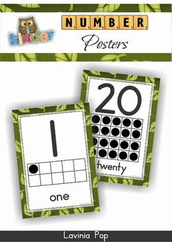 Number Posters with Ten Frames Jungle Theme