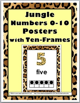 Jungle Theme Numbers 1-10 Number Posters with Ten Frames