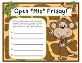 Jungle Open Mic Friday Signup Sheet