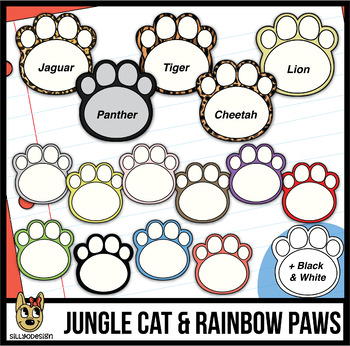 Jungle Paw Prints Clip Art | Rainbow Paws