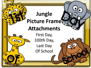 Jungle Picture Frame Attachments For First Day, 100th Day,