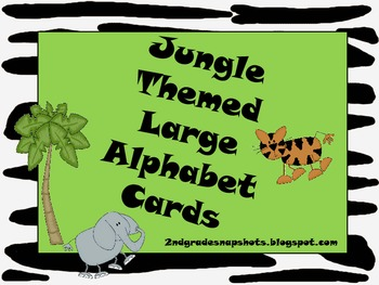 Jungle Print Large Alphabet Cards with Handwriting Lines