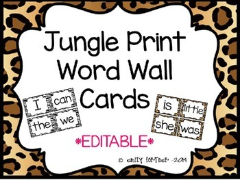 Jungle Print Word Wall Cards