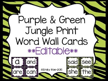 Jungle Print Word Wall Cards (Purple and Green)