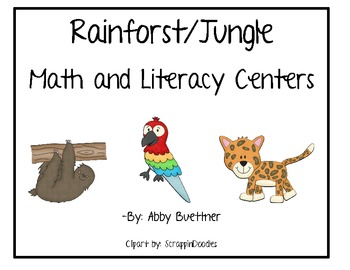 Jungle Rainforest Math and Literacy Centers