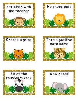 Jungle Reward Coupons- Positive Classroom Management