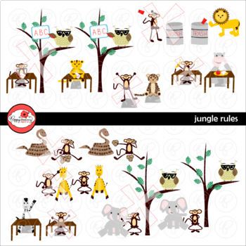 Jungle Rules Digital Class Rules Clipart NOW WITH LINE ART