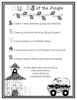 Jungle Rules of the Jungle B&W Parent Letter