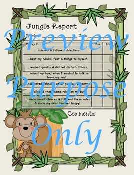 Jungle Rules of the Jungle Behavior Reports