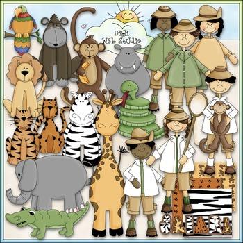 Jungle Safari Clip Art - Jungle Animals Clip Art - CU Clip Art & B&W
