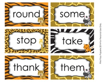 Jungle Safari 1st Grade Dolch Sight Wall Words