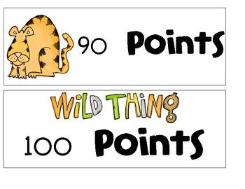 Jungle/ Safari AR Points Clip Chart