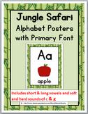 Jungle Safari Classroom Decor Alphabet Posters with Primary Font