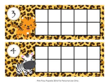 Jungle Safari Animal Ten Frame Cards